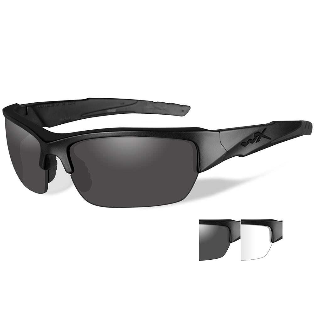 Wiley X Valor Sunglasses - Smoke Grey/Clear Lens - Matte Black Frame