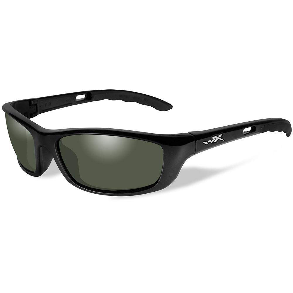 Wiley X P-17 Polarized Sunglasses - Smoke Green Lens - Gloss Black Frame